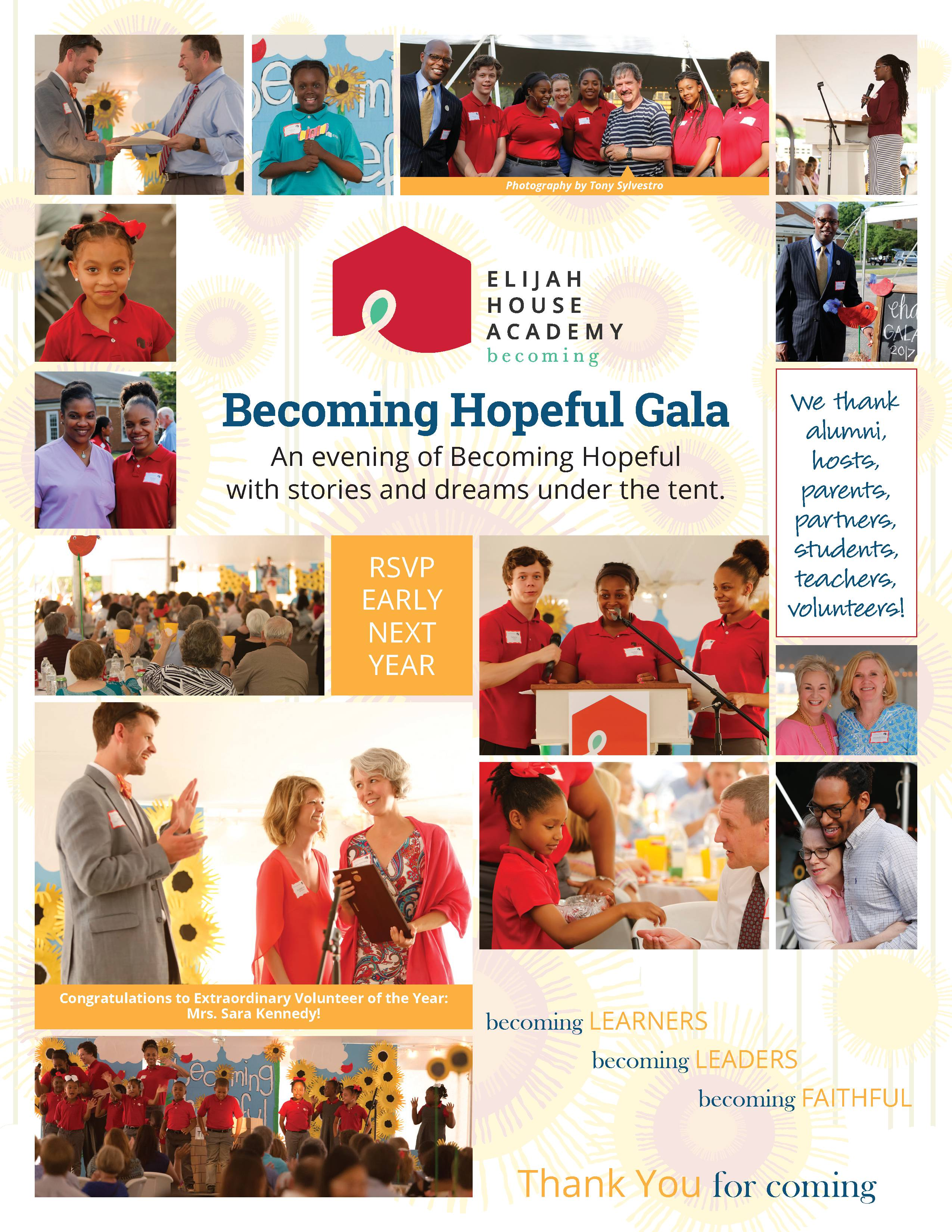Becoming Hopeful Gala, Thank you, Scholarship Partners, Stories and Dreams under the tent